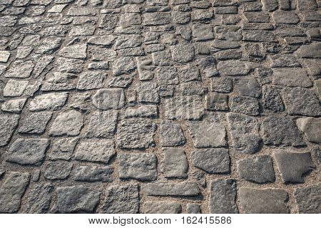 Paving stones road background, Granite paivment in the city