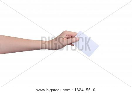 Isolated Hand holding card, Hand holding on white background