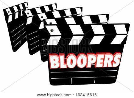 Bloopers Outtakes Mistakes Wrong Flubs Movie Clapper Boards 3d Illustration