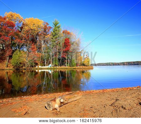 Autumn shoreline at Lake Wissota State Park in Wisconsin