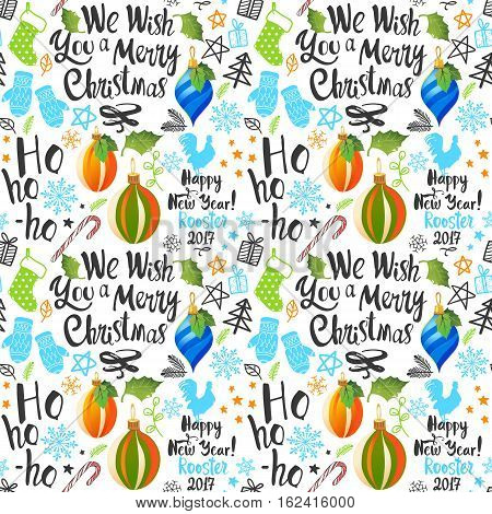 Seamless new year pattern on white background. Christmas vector illustration set in sketch style. Beautiful funny symbols, cock, mistletoe, pine branch and holiday lettering.