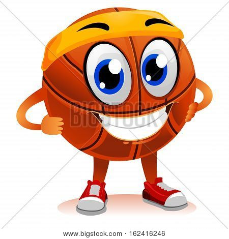 Vector Illustration of Happy Basketball Mascot hands on waist