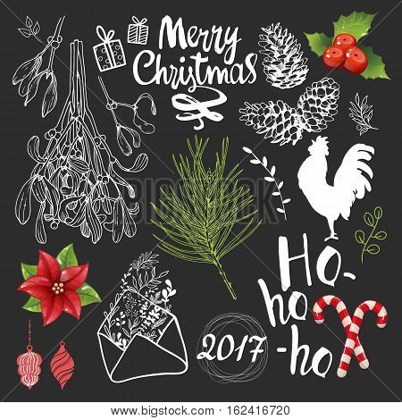 Christmas vector illustration set in sketch style. Present on black background. Beautiful new year funny symbols, cock, mistletoe, pine branch and holiday lettering.