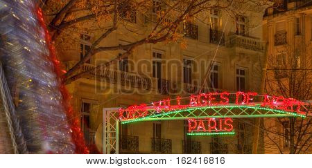 ParisFrance - 27 November 2016: Close-up image of the entrance in the Christmas Villages on the Champs Elysees Boulevard in Paris.