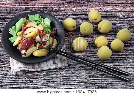 Spicy Sour Chinese Sausage Salad With Peach Honey - Compote .