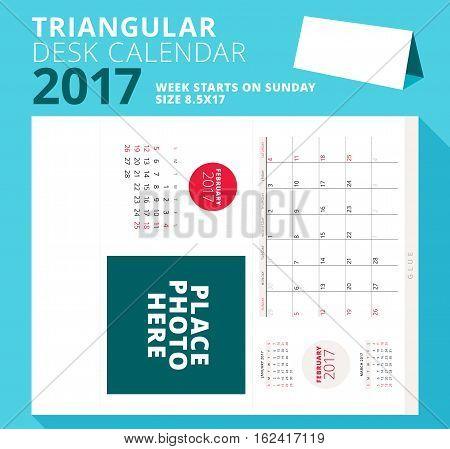 Triangular Desk Calendar Planner For 2017 Year. February 2017. Week Starts On Sunday. Printable Stat