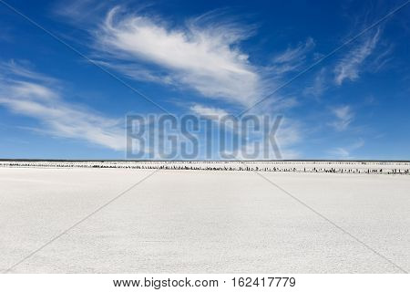 Views of desert landscape and salty lake on background of blue sky. Old bay salt works with pink salt and weathered wood pegs. Landscape with salty lake Sivash Ukraine. Salty lake with blue sky