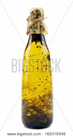 Bottle of Handmade Olive Oil with Rosemary Saffron and Coriander isolated on White background