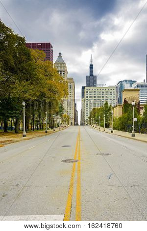 Chicago IL USA october 27 2016: Jackson Boulevard in downtown Chicago. Chicago is the 3rd most populous US city with 2.7 million residents 8.7 million in its urban area .