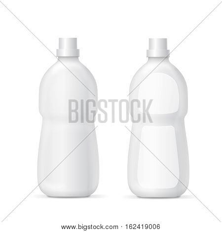 White plastic bottle for liquid laundry detergent or cleaning agent Packaging collection template. Vector illustration.