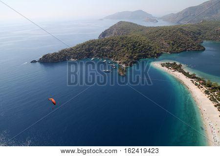 Paragliding on Blue Lagoon in Oludeniz, Fethiye, Turkey