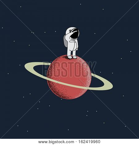 Cartoon spaceman standing on the red planet.Childish vector illustration
