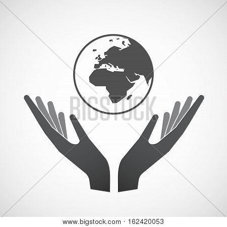 Isolated Hands Offering   An Asia, Africa And Europe Regions World Globe