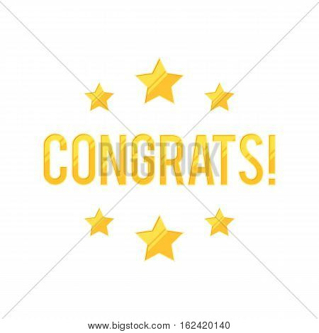 Congrats sign with gold stars on white background. Vector illustration for web design banner, poster or print card