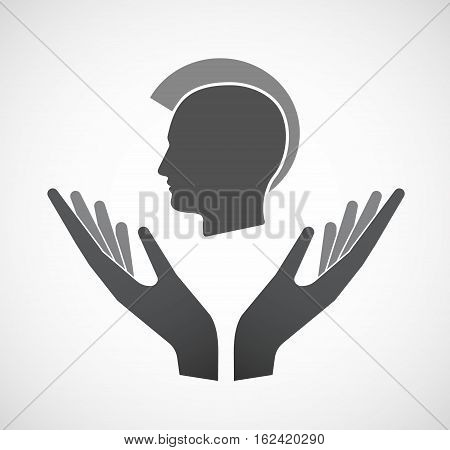 Isolated Hands Offering  A Male Punk Head Silhouette