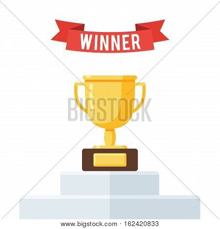 Gold trophy Cup on winners podium and red ribbon. Vector illustration in trendy flat style isolated on white background for poster, web banner or greeting card