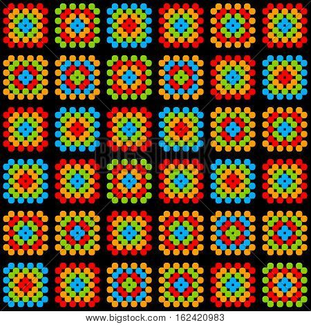 Colorful granny square crochet blanket ornament on black, vector background