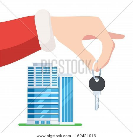 Hand Santa gives the key to the apartment. Christmas sale of new apartments, holiday offer. Vector illustration in trendy flat style, isolated on white background