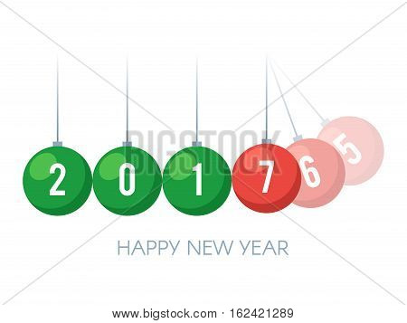 Happy New Year 2017. Colored balancing balls Newton's cradle with 2017 new year text. Holiday concept. Vector illustration template isolated on white background for web design or greeting card