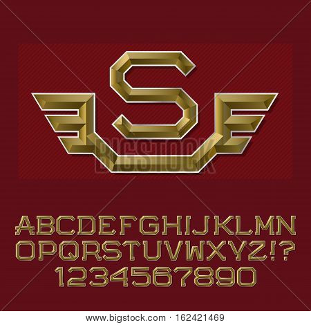 Golden faceted letters and numbers with initial monogram with wings. Beautiful presentable font kit for logo design.