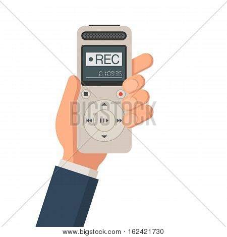 Journalist hand holds dictaphone, voice recorder. News concept. Journalist electronic equipment for interview. Vector illustration in trendy flat style, isolated on white background for web design banner or print