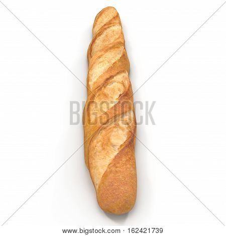 long loaf isolated on white background. Front view. 3D illustration