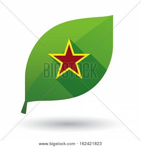 Isolated Green Leaf With  The Red Star Of Communism Icon
