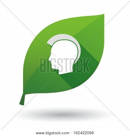 Isolated Green Leaf With  A Male Punk Head Silhouette