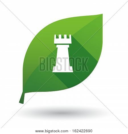 Isolated Green Leaf With A  Rook   Chess Figure