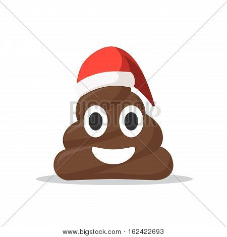 Emoji shit icon smiling face with Santa hat. Christmas concept symbol vector illustration in cartoon style isolated on white background