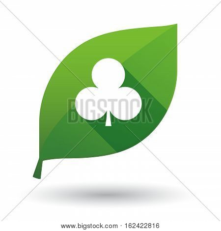 Isolated Green Leaf With  The  Club  Poker Playing Card Sign