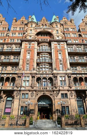 LONDON, UK - MARCH 22, 2014: The Victorian facade of the Russell Hotel at Russell Square