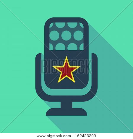 Long Shadow Microphone  With  The Red Star Of Communism Icon