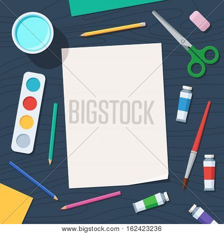 Tools for creative work. Watercolor paintbox and paintbrush, colored pencils. Paper and drawing materials on the table. Overhead view. Vector illustration flat style, top view
