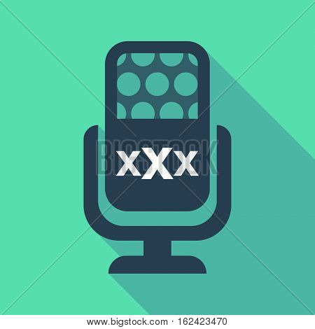 Long Shadow Microphone  With  A Xxx Letter Icon