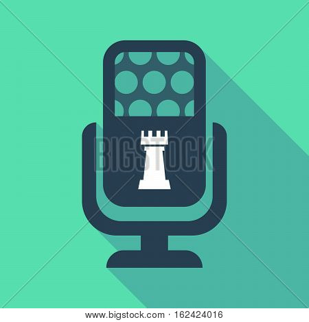 Long Shadow Microphone  With A  Rook   Chess Figure