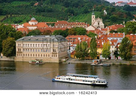 The Red Roofs On Vltava's Riverside In Prague