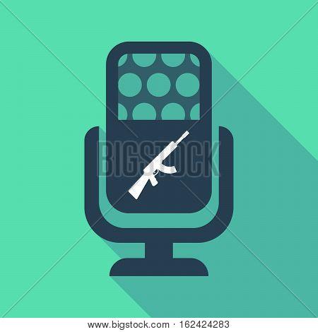 Long Shadow Microphone  With  A Machine Gun Sign