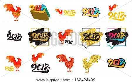 Lettering 2017 With Red Fire Cock for print and poster, banner and sticker. Happy new year greeting card. Vector