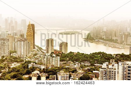 Chongqing China downtown city skyline over the Yangtze River.