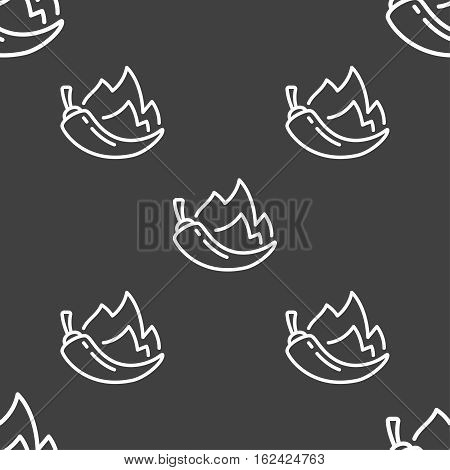 Chilli Pepper Icon Sign. Seamless Pattern On A Gray Background. Vector