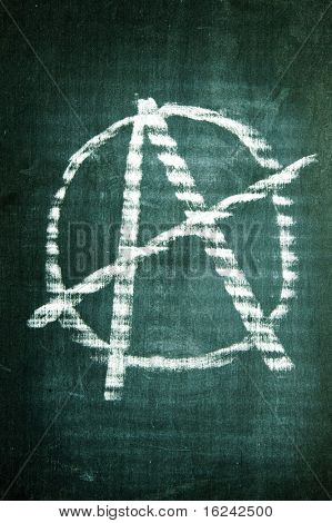 anarchism sign written with a chalk on a blackboard