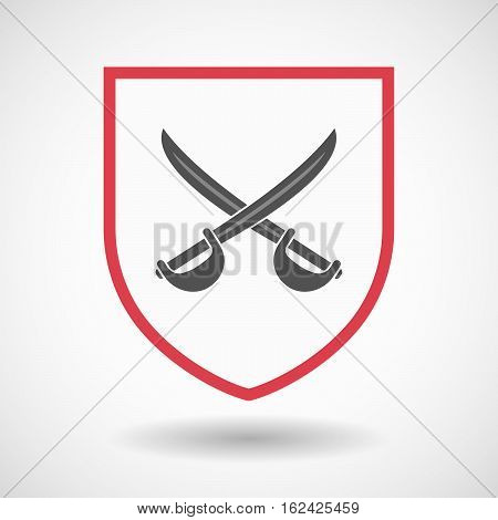 Isolated Shield With  Two Swords Crossed