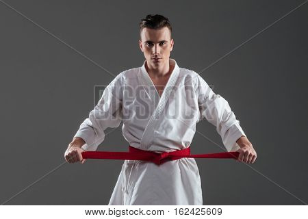 Picture of young sportsman dressed in kimono practice in karate while tightening red belt isolated over grey background. Look at camera.