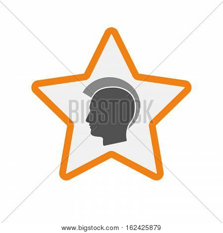 Isolated Star With  A Male Punk Head Silhouette