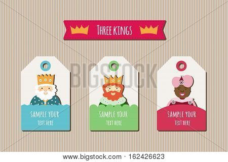 Three Kings tags to place with gifts and lines background