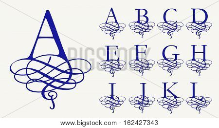 Vintage Set 1. Calligraphic capital letters with curls for Monograms and Logos. Beautiful Filigree Font. Baroque style. poster