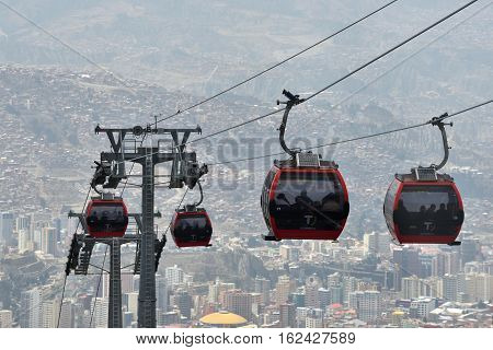 LA PAZ BOLIVIA - AUGUST 27: Houses of La Paz with Teleferico (Cable car) on August 27 2016 in La paz Bolivia.