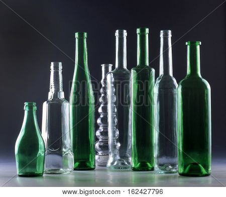 beautiful composition of glass bottles luxury tasting
