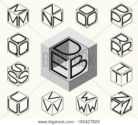Set 2 template of the letters inscribed in the three sides of the cube, hexagon. To create monograms, logos and emblems